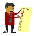 Business man checking to do list vector image vector image