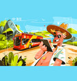 cheereful tourists on bus vector image