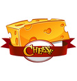 Cheese with text in banner vector image vector image