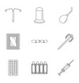 contraception icon set outline style vector image