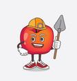 crab apple cartoon mascot character as cool miner vector image vector image