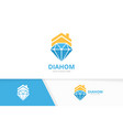 diamond and real estate logo combination vector image vector image