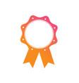 gradient orange to pink award medal ribbon badge vector image vector image