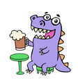 happy purple dragon sitting with a mug of beer vector image vector image