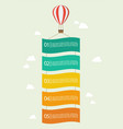 hot air balloon with banner infographic vector image vector image