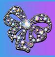 jewel brooch bow with precious stones vector image vector image