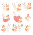 lovely white little bunny and fox cub having fun vector image vector image