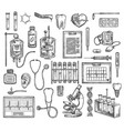 medical surgery equipment sketch items vector image vector image