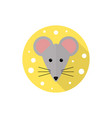 mouse and cheese in flat style vector image vector image