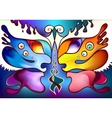 Multicolor butterfly wings as two half faces vector image vector image
