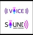 music logotype with text sound and voice vector image