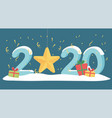 new year 2020 greeting card gold star confetti vector image