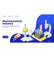 pharmaceutical industry landing page isometric vector image vector image