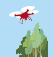 quadcopter flying over treetops simple vector image vector image