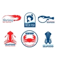 Seafood and fish products icons vector image vector image