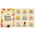 set fast food and bubble color flat icon vector image vector image
