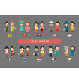 Set of asian men and women in traditional costume vector image vector image