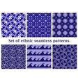 Set of ethnic geometric seamless patterns vector image vector image