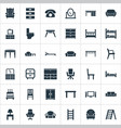 set of simple furniture icons vector image