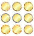 set of simple round gold medal with a border of vector image vector image