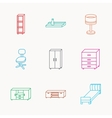 Single bed TV table and shelving icons vector image vector image