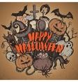sketch Halloween characters vector image