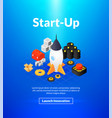 startup poster of isometric color design vector image vector image