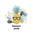 summer party banner with funny pineapple vector image