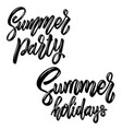 summer party lettering phrase design element vector image vector image