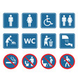 toilet icons set restroom wc signs and prohibited vector image vector image