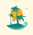 tropical island paradise with palms silhouette vector image vector image