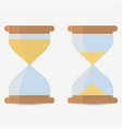 two transparent sandglass full and half empty vector image