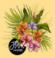 vintage floral tropical greeting card vector image vector image