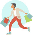 young man with shopping bags vector image