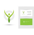 abstract human logo and business card template vector image
