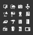 Set icons of home technics and appliances vector image