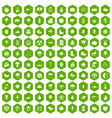 100 leaf icons hexagon green vector image vector image