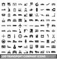 100 transport company icons set simple style vector image vector image