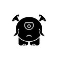 Baby monster black icon sign on isolated