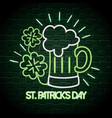 beer glass with clovers neon label to st patrick vector image