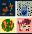 big valentines day set with cute funny animals vector image vector image