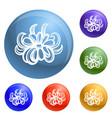bio calendula icons set vector image