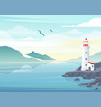 blue sea background with lighthouse on rock stones vector image vector image
