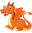 Cartoon dragon posing on white background vector image vector image