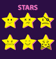 character star yellow set 6 pieces sticker vector image vector image