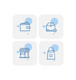 creative blue e commerce icons design vector image vector image