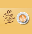 cup of coffee orange background top view vector image vector image
