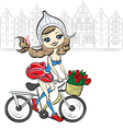 Cute girl on the bike in Amsterdam vector image vector image