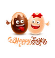 dark and white chocolate easter eggs vector image
