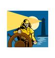 Fisherman Sea Captain Helm Retro vector image vector image